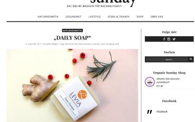 organic sunday – Das Online-Magazin für Nachhaltigkeit berichtet über LEVIA Seifen