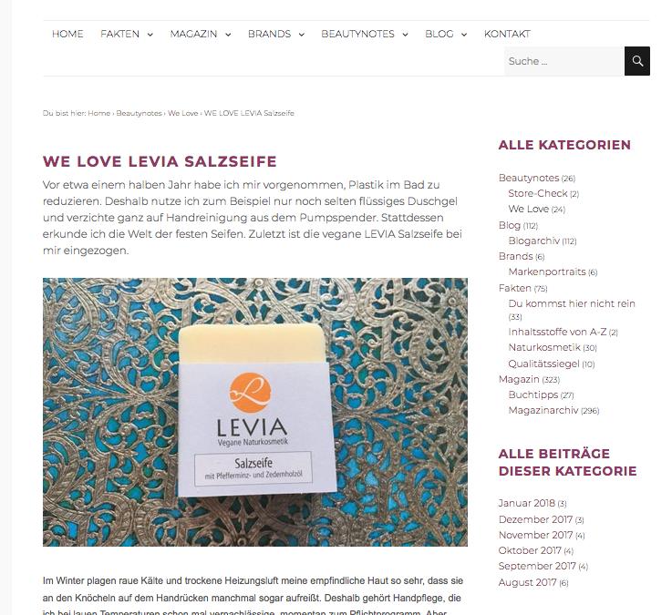 """LEVIA Salzseife: Glücksfall für trockene Haut"" schreibt naturalbeauty"